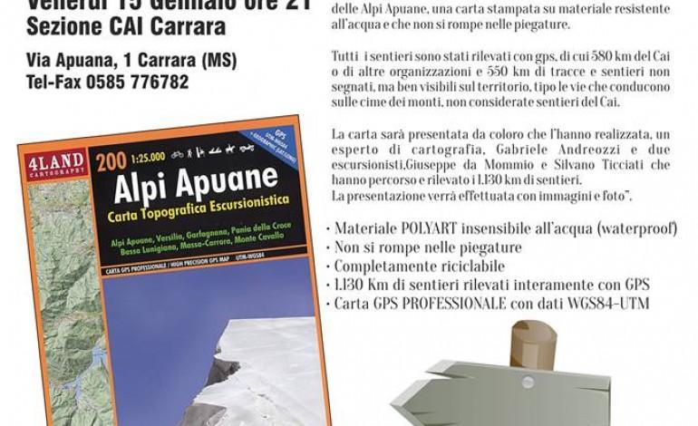 Carrara: venerdì 15 gennaio presentazione della nuova carta escursionistica delle Alpi Apuane