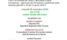 PONTREMOLI - Incontro sul referendum costituzionale con Dario Parrini, Giorgio Pagano e Giacomo Bugliani. Modera Davide Simone.