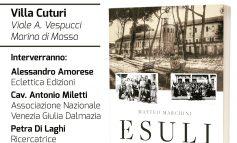 """Sabato 16 marzo presentazione del libro """"Esuli in terra apuana"""" a Villa Cuturi"""