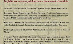 """GIORNATA DI STUDI ALL'ARCHIVIO DI STATO DI MASSA - """"Follia tra scienza psichiatrica e documenti d'archivio"""""""
