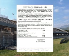 """Comunicato della Massese sulla nuova capienza al 75% dello stadio """"Vitali"""""""